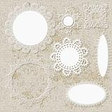 vector lacy scrapbook napkin design patterns on seamless grungy
