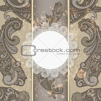 vector menu with paisley pattern and napkin for your text