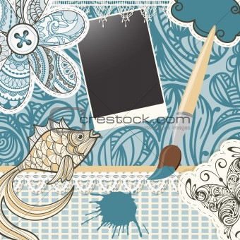 vector scrapbook design pattern on seamless  background