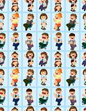happy office worker seamless pattern