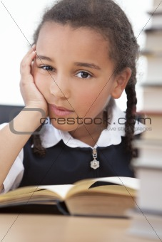 African American Mixed Race School Girl Reading A Book
