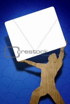 man holding white shield