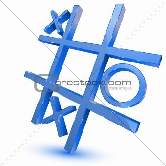 Blue tris game symbol