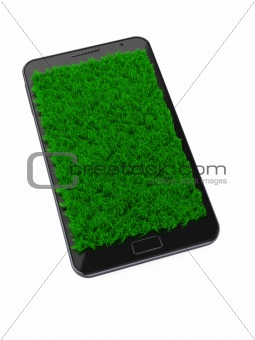 mobile phone with grass