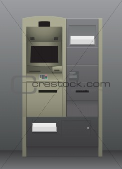 Automatic teller machine in grey interior