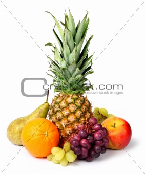 Fresh  tropical fruits isolated