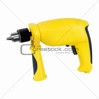 Yellow electric drill with handle