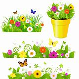 Green Grass With Flowers Set