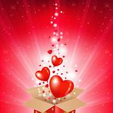 Valentines Day Card With Box And Sunburst