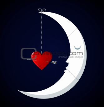 Moon Fall in love Valentines day background