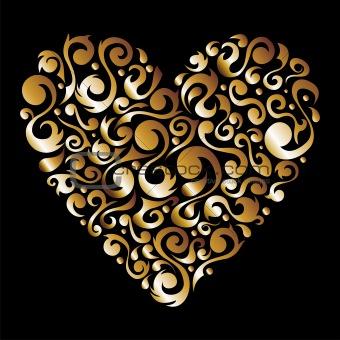 Golden Valentines floral love heart