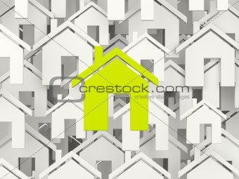 Green home symbol over grey homes