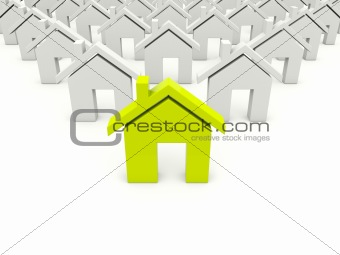 Green home symbol isolated on white