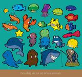 Extra big vector set of sea animals