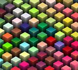 isometric 3d render of beveled cubes in multiple bright colors 