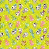 spaceman and ufo seamless pattern