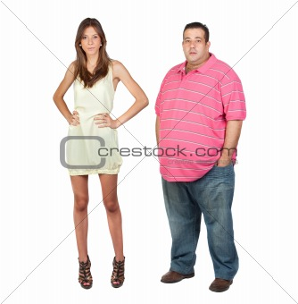 Slim girl and fat man