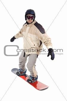 Boy snowboarding