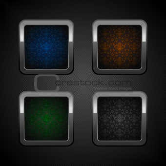 Set chrome web buttons, blank colors ornamental background