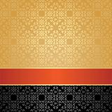 Seamless pattern, floral decorative background, orange ribbon