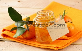 Orange homemade jam marmelade in a glass jar