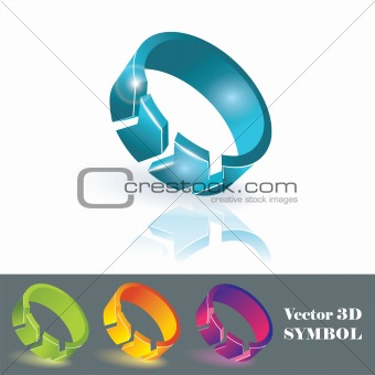 3d color symbols. Vector.