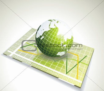green globe on glass with various diagram