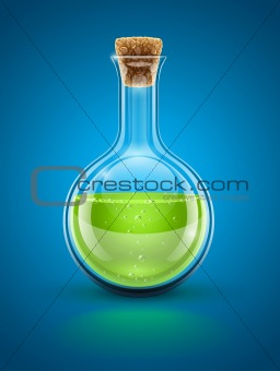glass chemical flask with green toxic liquid