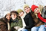 Group of friends outside in winter