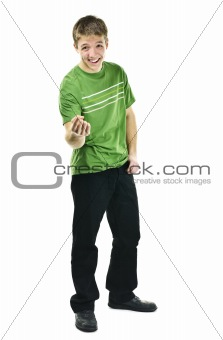 Young man laughing and pointing