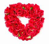 Heart Shaped Red Rose Arrangement on a White Background.