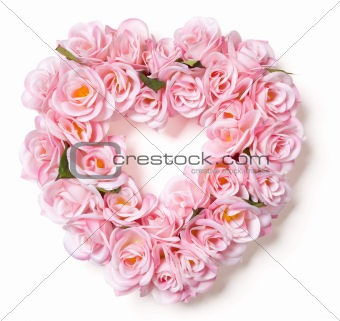 Heart Shaped Pink Rose Arrangement on a White Background.