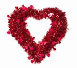 Heart Shaped Shiny Tinsel with Small Hearts on a White Background.