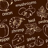 Pizza doodle seamless pattern