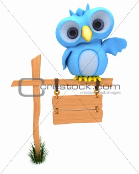 Cute Blue Bird Character
