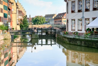 Ill river canal in old town Strasbourg, France