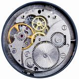clockwork with gears, spring, ruby