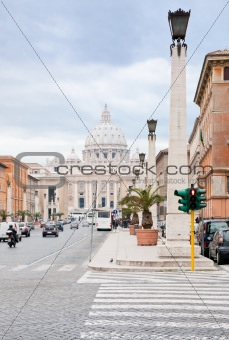 view on St.Peter Basilica from via Conciliazione in Rome