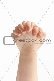 Folded hands of child