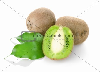 Kiwi fruit with green leaves