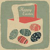 Easter basket with eggs. Retro style easter background.
