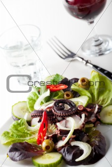 greek squid salad with onions