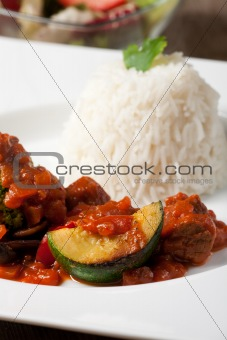 indian zucchini curry dish with rice