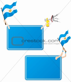 Argentina Sport Message Frame with Flag. Set of Two