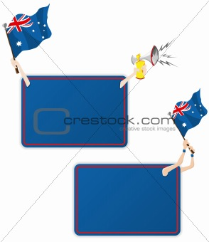 Australia Sport Message Frame with Flag. Set of Two