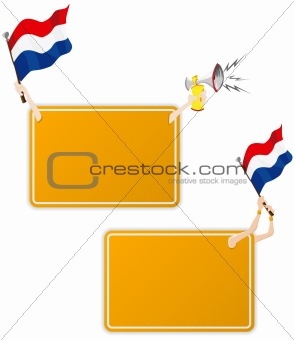 Dutch Sport Message Frame with Flag. Set of Two