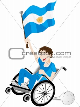 Argentina Sport Fan Supporter on Wheelchair with Flag