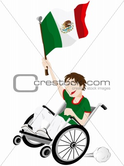 Mexico Sport Fan Supporter on Wheelchair with Flag