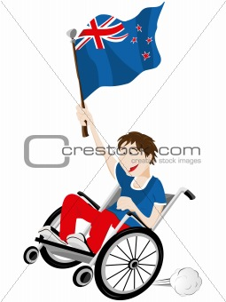 New Zealand Sport Fan Supporter on Wheelchair with Flag