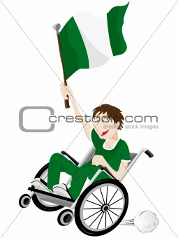 Nigeria Sport Fan Supporter on Wheelchair with Flag